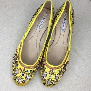 Rebels Yellow Beaded Pumps